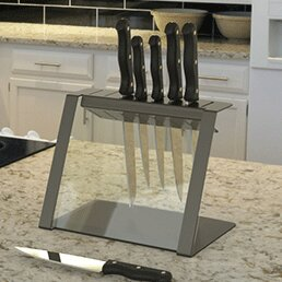 Katana Modern Glass and Steel Knife Holder by Decorpro