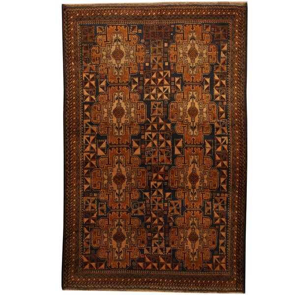 Prentice Hand-Knotted Black/Tan Area Rug by Isabelline