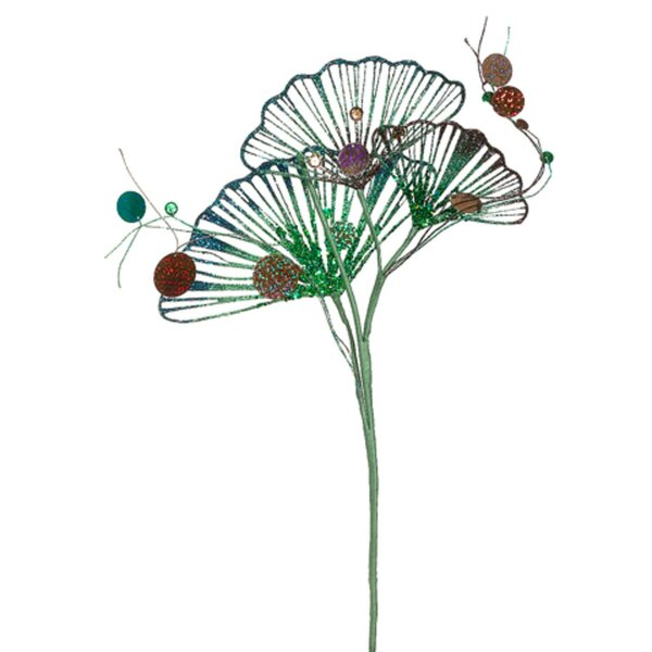 Regal Peacock Artificial Ginkgo Leaf Sequined Glitter Mixed Stem by Tori Home