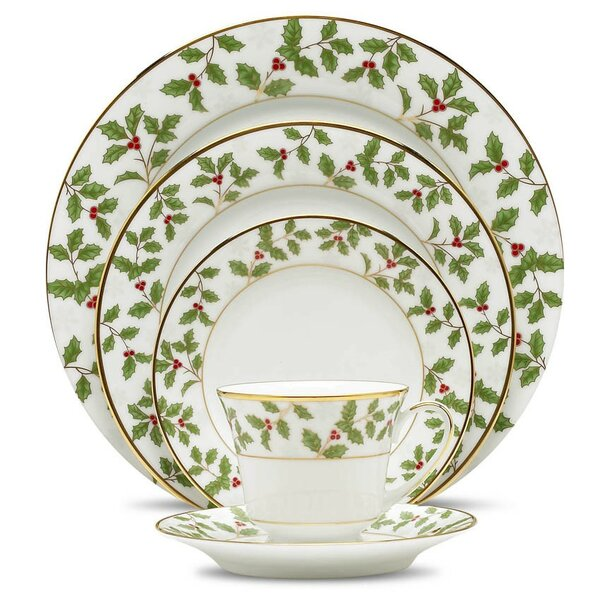 Holly and Berry Gold 5 Piece Place Setting, Service for 1 by Noritake