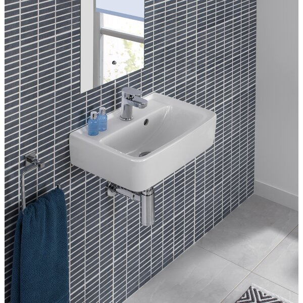 Renova Ceramic 18 Wall Mount Bathroom Sink with Overflow by Bissonnet