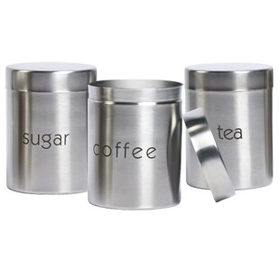 Stainless Steel 3 Piece Coffee, Tea, & Sugar Set by Basic Essentials
