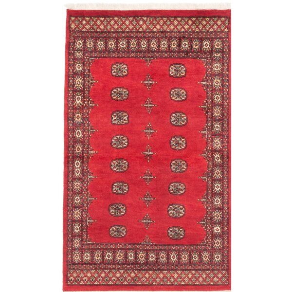 One-of-a-Kind Peshawar Bokhara Handmade Red Area Rug by ECARPETGALLERY