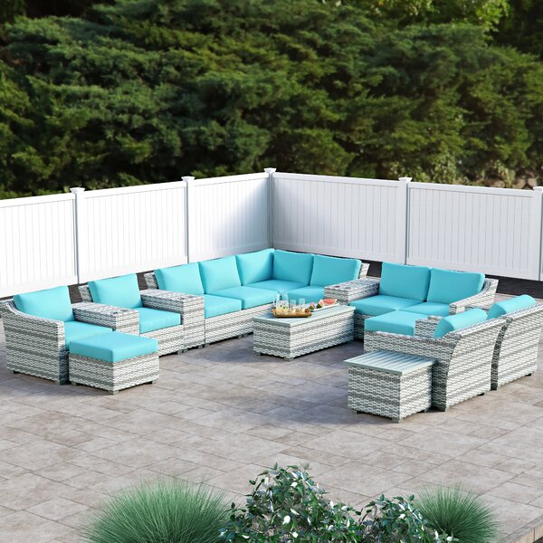 Falmouth 17 Piece Rattan Sectional Seating Group with Cushions by Sol 72 Outdoor