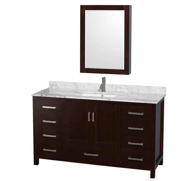 Sheffield 60 Single Espresso Bathroom Vanity Set with Medicine Cabinet by Wyndham Collection