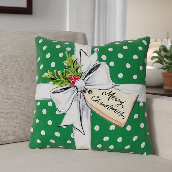 Polka Dot Bow Throw Pillow by The Holiday Aisle