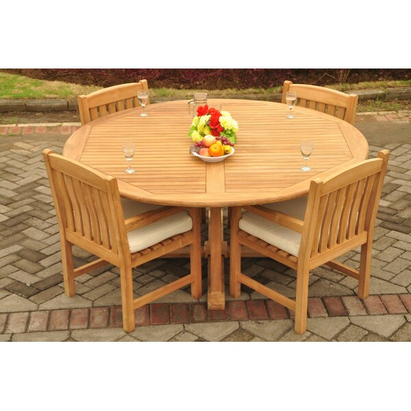 Powhattan Luxurious 5 Piece Teak Dining Set by Rosecliff Heights