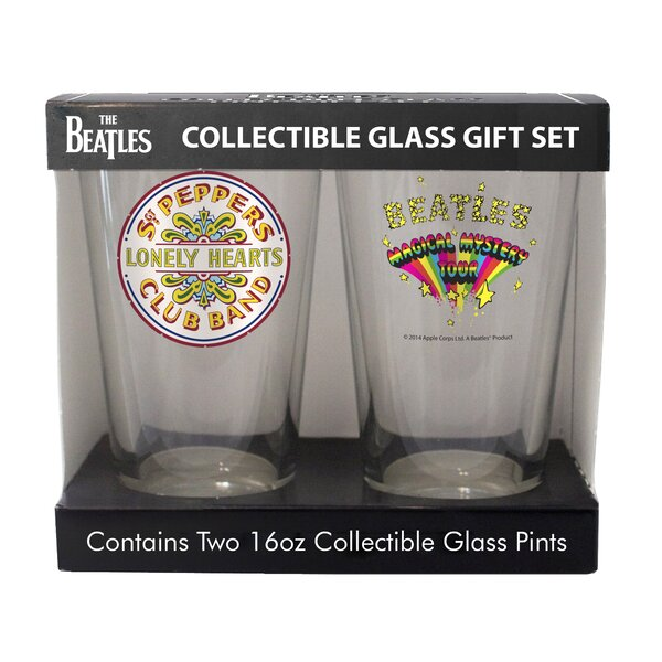 Beatles Sergeant Pepper and Magic Mystery Tour 2 Piece Collectible Pint Glass Set by Boelter Brands