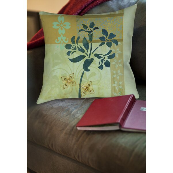 Collage Blossoms Patterned Printed Throw Pillow by Manual Woodworkers & Weavers