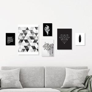 'Black and White' 6 Piece Graphic Art Print Set by East Urban Home