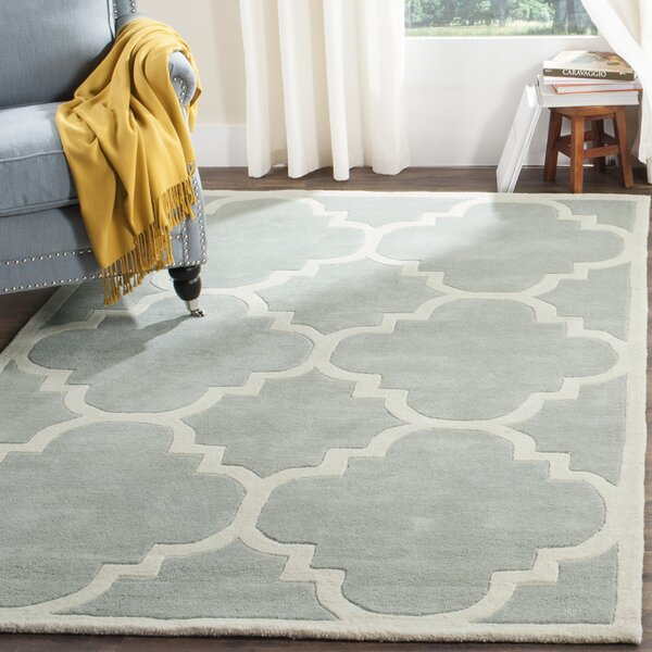 Wilkin Hand-Tufted Wool Gray/Ivory Area Rug by Wrought Studio