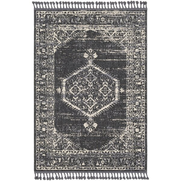 Tamika Distressed Vintage Charcoal/Cream Area Rug by Bungalow Rose