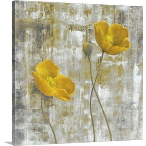 'Yellow Flowers I' by Carol Black Painting Print on Canvas by Canvas On Demand