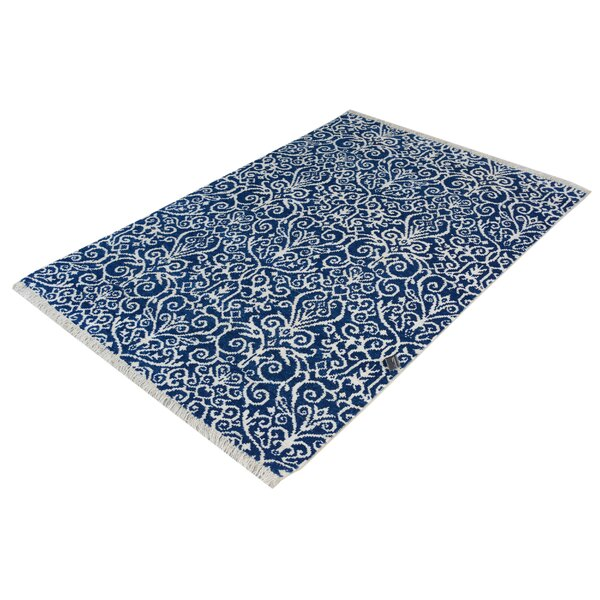 Dorn Hand-Knotted Wool Blue/Ivory Area Rug by Isabelline
