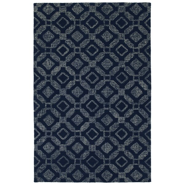 Funderburg Hand-Tufted Wool Navy Area Rug by Ebern Designs