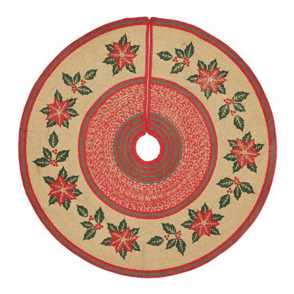 Poinsettia Jute Tree Skirt by The Holiday Aisle