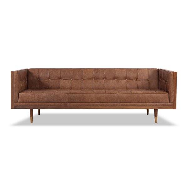 Carey Mid-century Modern Box Leather Sofa by Corrigan Studio
