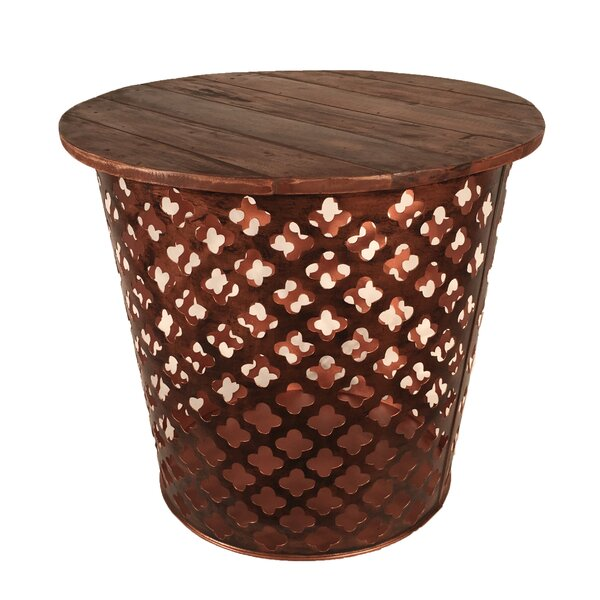 Outdoor/Indoor Drum Lattuce Metal Side Table by Eangee Home Design