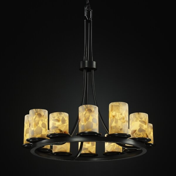 Crosson 12 - Light Shaded Wagon Wheel Chandelier by Rosecliff Heights Rosecliff Heights