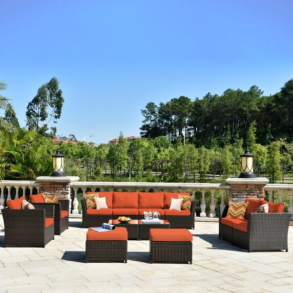 Cassville Patio Furniture 12 Piece Rattan Sectional Seating Group with Cushions by Alcott Hill