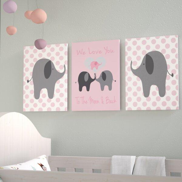Stella We Love You Elephants Triptych 3 Piece Wall Plaque Set by Viv + Rae