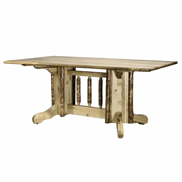 Tustin Double Pedestal Solid Wood Dining Table by Loon Peak