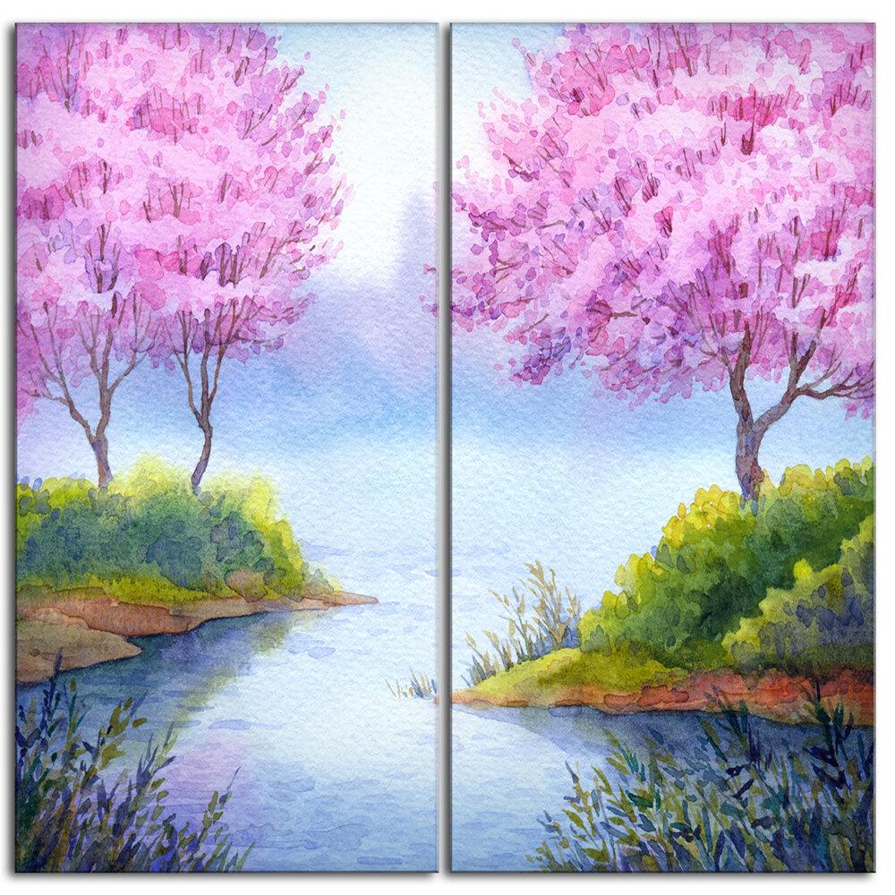 Designart Flowering Trees Over Lake Landscape 2 Piece Painting Print On Wrapped Canvas Set Wayfair