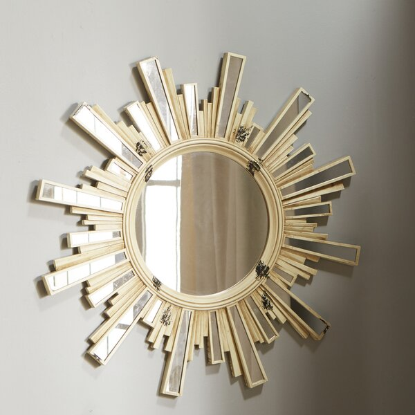 Paint Splattered Sunburst with Inlaid Ray Accent Mirror by World Menagerie