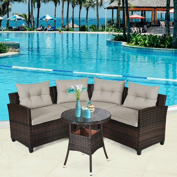 Slabtown 4 Piece Rattan Sofa Seating Group with Cushions by Ebern Designs