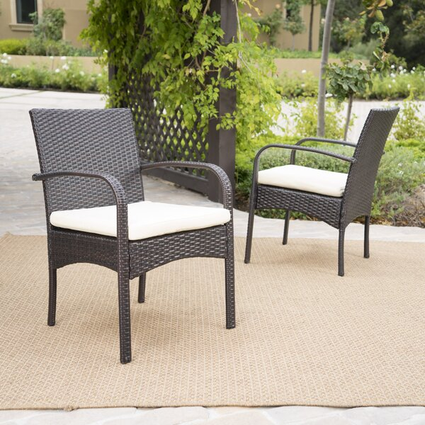 Abdullah Patio Dining Chair with Cushion (Set of 2) by Mistana