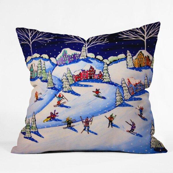 Renie Brirwnbucher Winter Skiing Fun Throw Pillow by Deny Designs