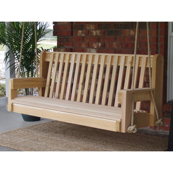 Ella Cedar High Back Rope Porch Swing by Millwood Pines