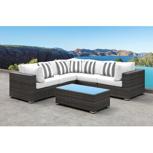 Yeager 5 Piece Rattan Sectional Set with Cushions By Orren Ellis