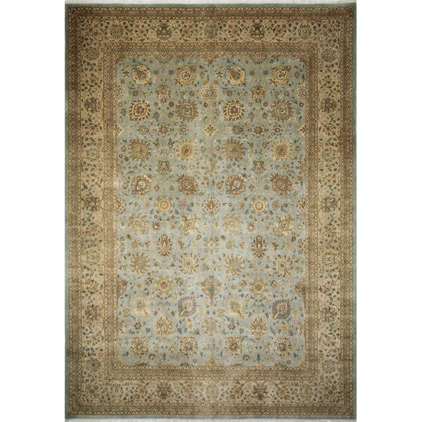 Ankara Morvarid Hand Knotted Wool Light Blue Area Rug by World Menagerie