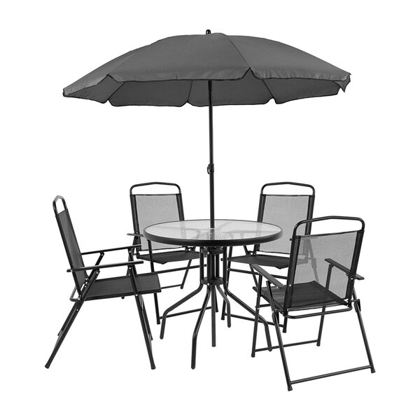 Dante 6 Piece Dining Set with Umbrella by Winston Porter