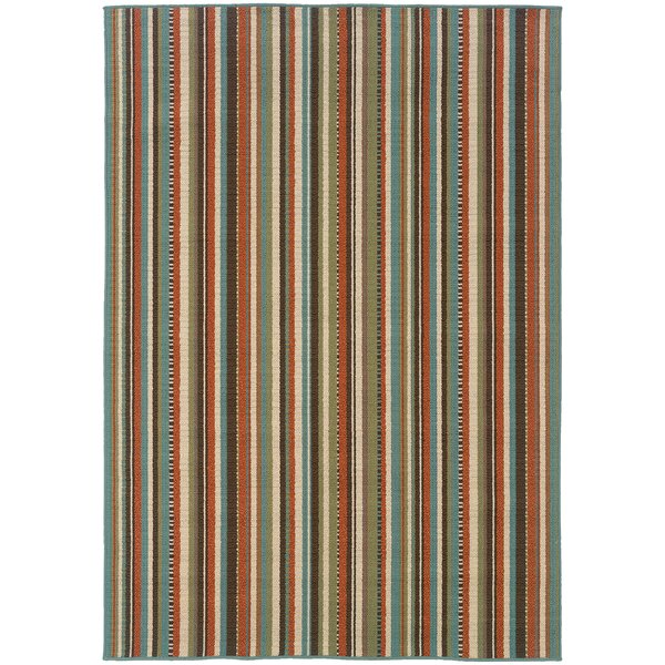 Korte Stripe Blue/Orange Indoor/Outdoor Area Rug by Bayou Breeze