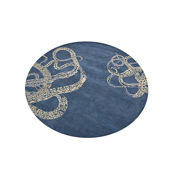 Glasscock Contemporary Hand-Tufted Wool Blue/Beige Area Rug by Breakwater Bay