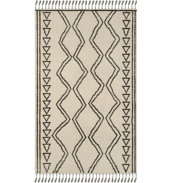 Glenoe Hand-Knotted Ivory/Black Area Rug by Bloomsbury Market