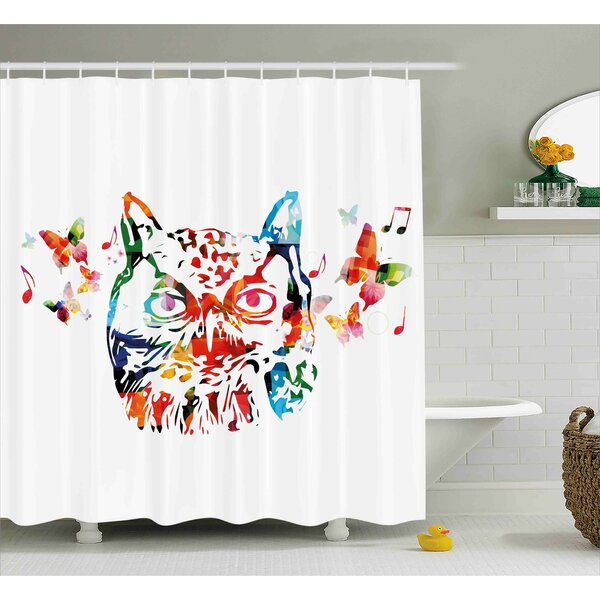 Laura Animal Rainbow Colored Abstract Wild Birds Owl With Music Notes and Butterflies Image Art Shower Curtain by Ebern Designs