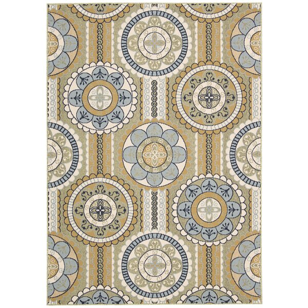 Lewis Yellow Indoor/Outdoor Area Rug by Charlton Home
