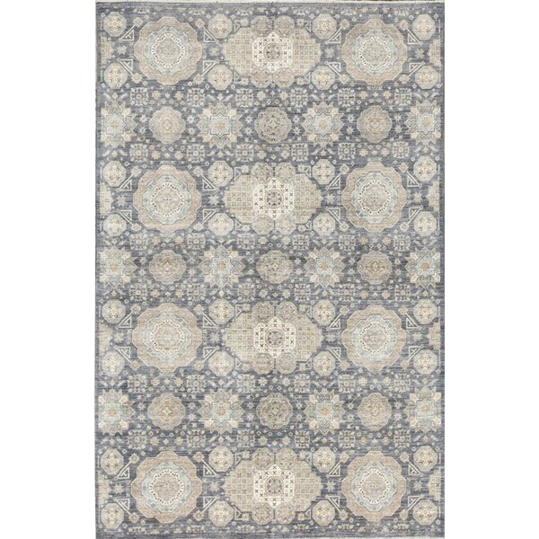 Hand-Knotted Wool Gray Rug