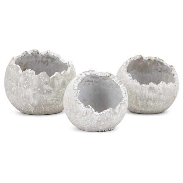 Francena 3-Piece Concrete Pot Planter Set by Highland Dunes