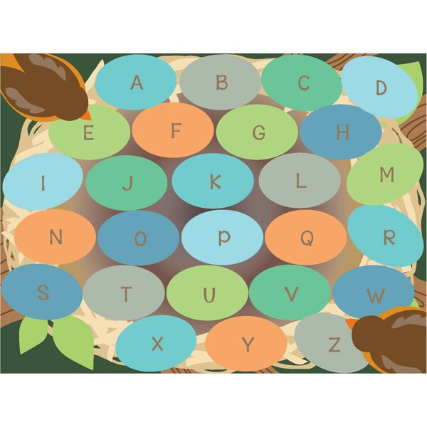 Robins Eggs Alphabet Seating Brown/Green Area Rug by ECR4kids