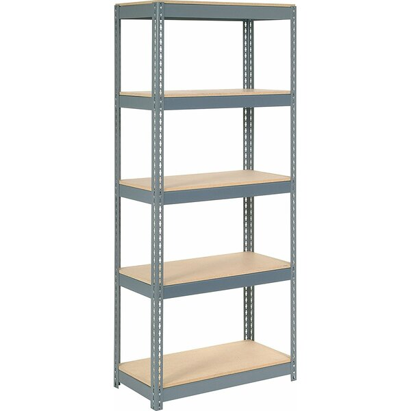 Wood Deck Rivet Lock 5 Shelf Shelving Unit by Nexel
