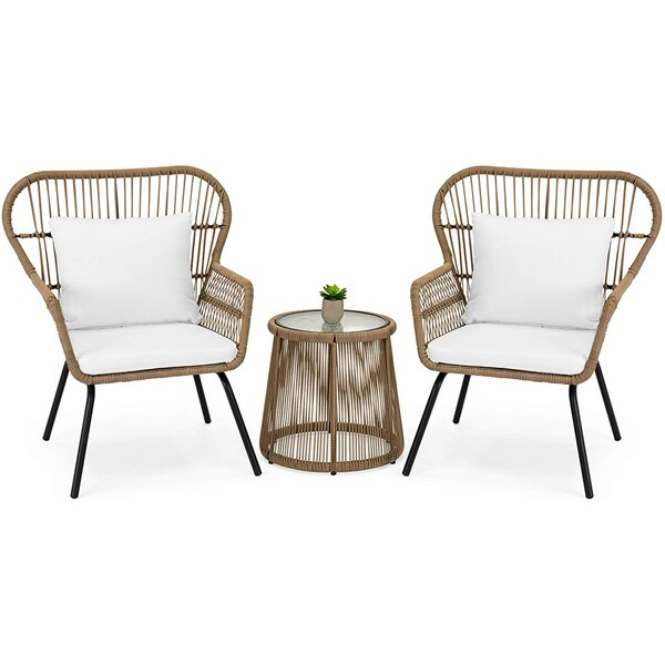 Alysa 3 Piece Rattan Seating Group with Cushions by Bayou Breeze