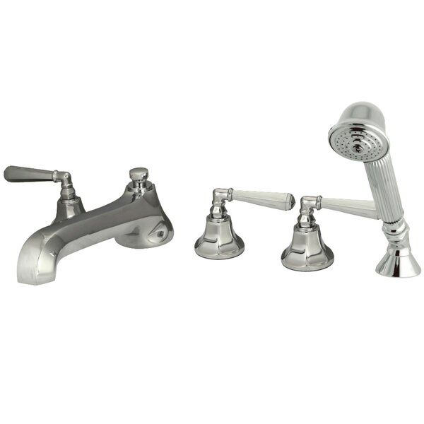 Triple Handle Deck Mounted Roman Tub Faucet with Diverter and Handshower by Kingston Brass Kingston Brass
