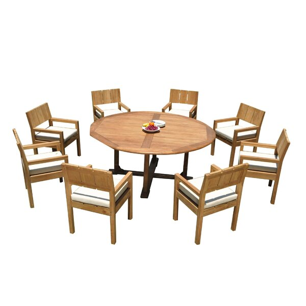 Josh 9 Piece Teak Dining Set by Rosecliff Heights