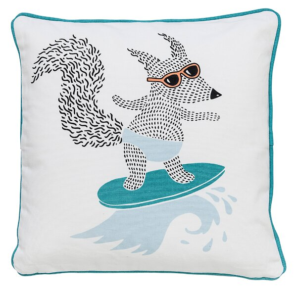 Jerad Surfing Animal Cotton Throw Pillow by Viv + Rae