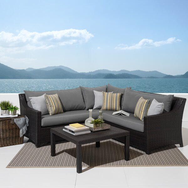 Northridge 4 Piece Sunbrella Sectional Seating Group with Cushions by Three Posts