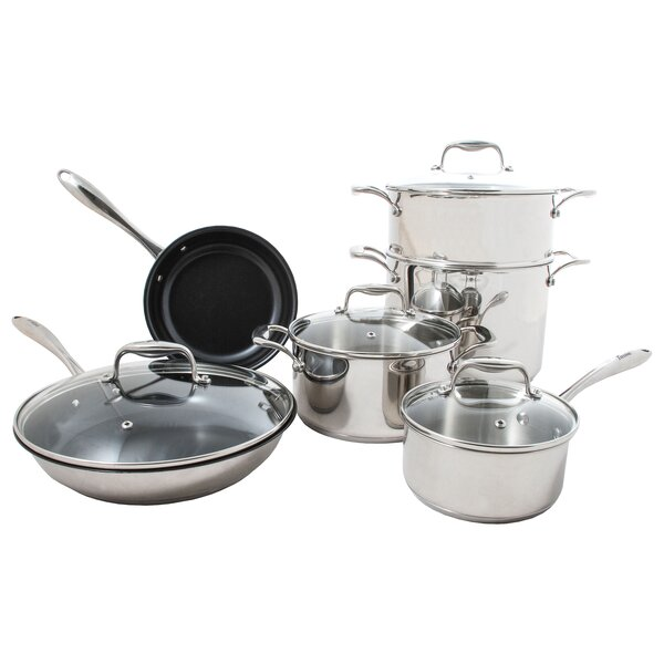 Concentrix 10-Piece Non-Stick Stainless Steel Cookware Set by Tuxton Home